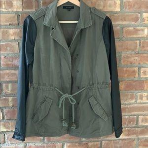 Francesca's cinched waist leather sleeve jacket